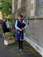 Piping in at Downfield Primary Prize giving
