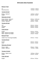 Easter Study Programme
