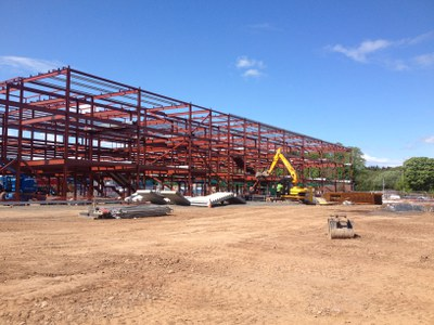 The main building steel work is almost complete..